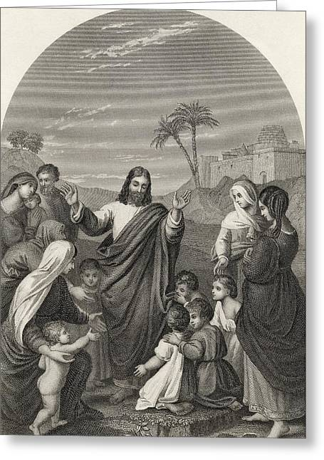 Child Jesus Greeting Cards - Christ Blessing The Little Children Greeting Card by Ken Welsh