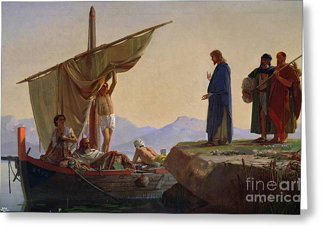 Bible Paintings Greeting Cards - Christ Calling the Apostles James and John Greeting Card by Edward Armitage