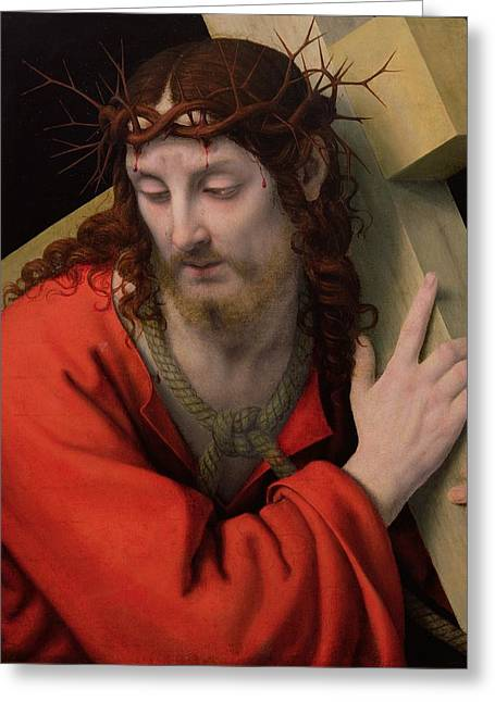 The Wooden Cross Greeting Cards - Christ Carrying the Cross Greeting Card by Andrea Solario