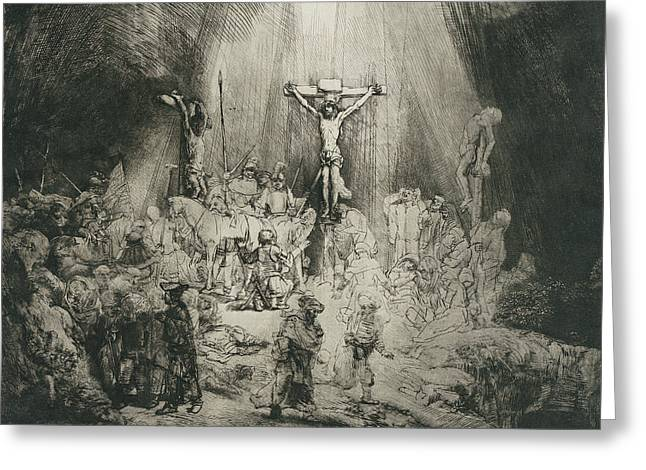 Christ Crucified Between The Two Thieves Greeting Card by Rembrandt