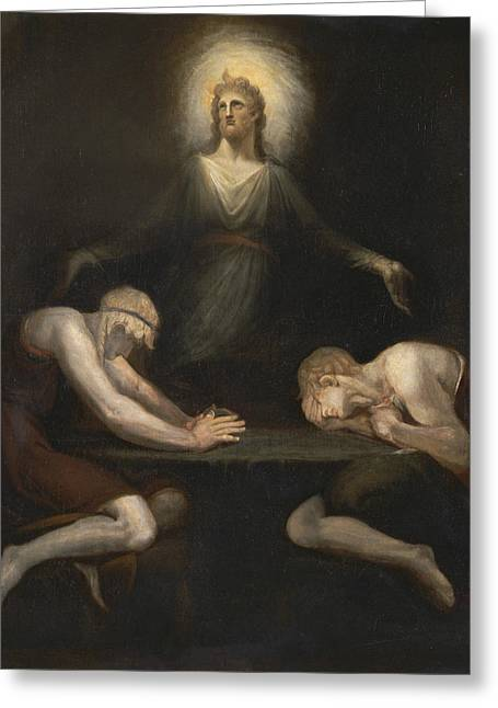 Swiss Paintings Greeting Cards - Christ Disappearing at Emmaus Greeting Card by Henry Fuseli