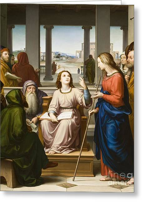 Best Sellers -  - Saint Joseph Greeting Cards - Christ Disputing with the Doctors in the Temple Greeting Card by Franz von Rohden
