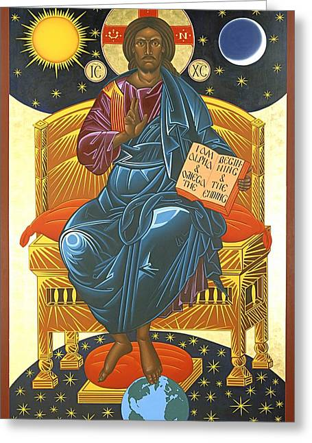 Icon Byzantine Paintings Greeting Cards - Christ Enthroned Icon  Greeting Card by Mark Dukes