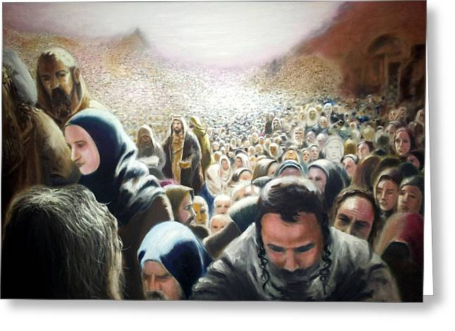 Christ Feeds The Five Thousand Greeting Card by Oliver McParland