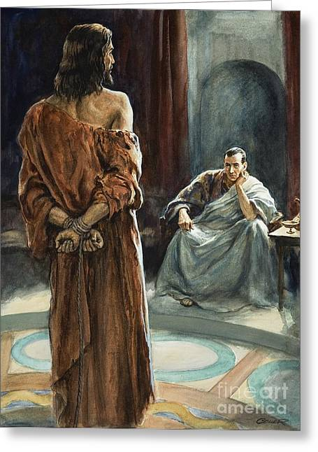 Pontius Greeting Cards - Christ in front of Pontius Pilate Greeting Card by Henry Coller