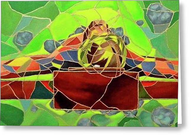 Crucifixtion Greeting Cards - Christ in Stained Glass Greeting Card by Kevin Davidson