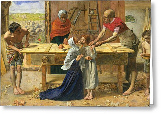 Bible Scene Greeting Cards - Christ in the House of His Parents Greeting Card by John Everett Millais