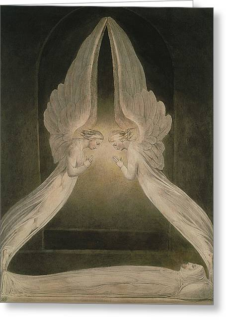 Christ In The Sepulchre, Guarded By Angels Greeting Card by William Blake
