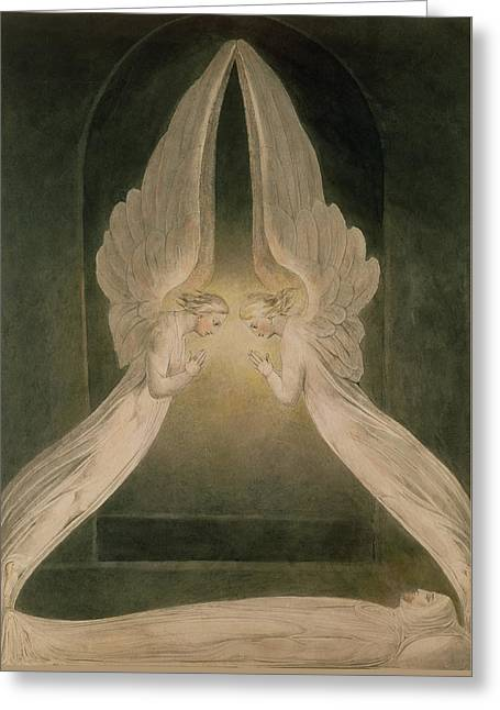 Son Of God Drawings Greeting Cards - Christ in the Sepulchre Guarded by Angels Greeting Card by William Blake