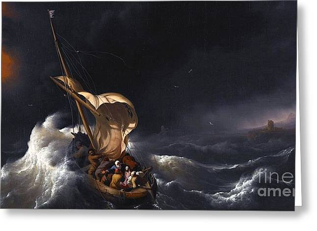 Christ In The Storm Greeting Cards - Christ in the Storm on the Sea of Galilee  Greeting Card by Ludolf Backhuysen