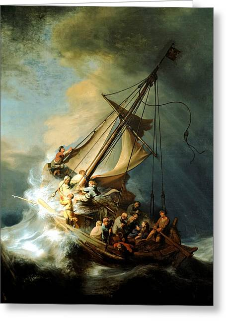Jesus Christ Paintings Greeting Cards - Christ In The Storm Greeting Card by Rembrandt