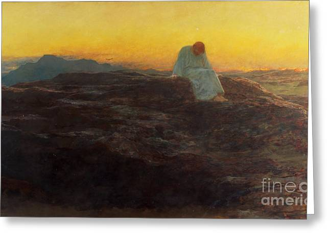Contemplation Paintings Greeting Cards - Christ in the Wilderness Greeting Card by Briton Riviere
