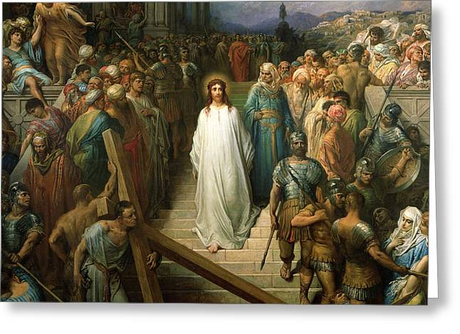Testament Greeting Cards - Christ Leaves his Trial Greeting Card by Gustave Dore