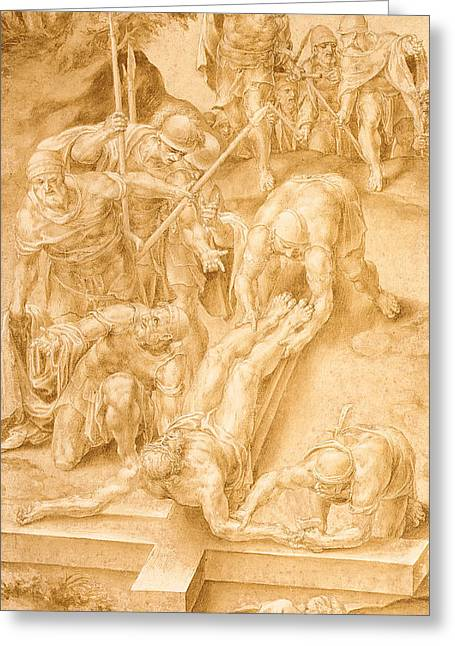 Christ Nailed To The Cross Greeting Card by Lelio Orsi da Novellara