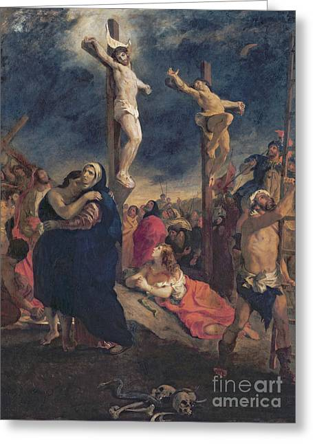 1835 Greeting Cards - Christ on the Cross Greeting Card by Delacroix