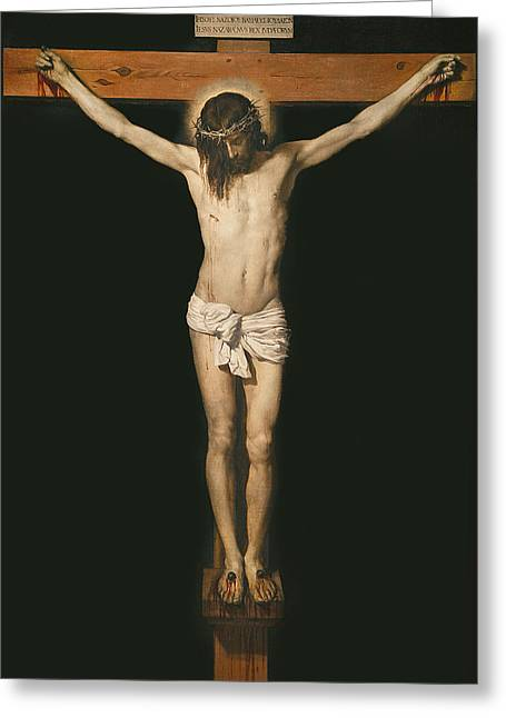 Testament Greeting Cards - Christ on the cross Greeting Card by Diego Velasquez