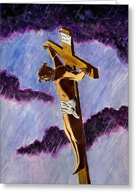 Christ On The Cross Greeting Card by Michael Vigliotti