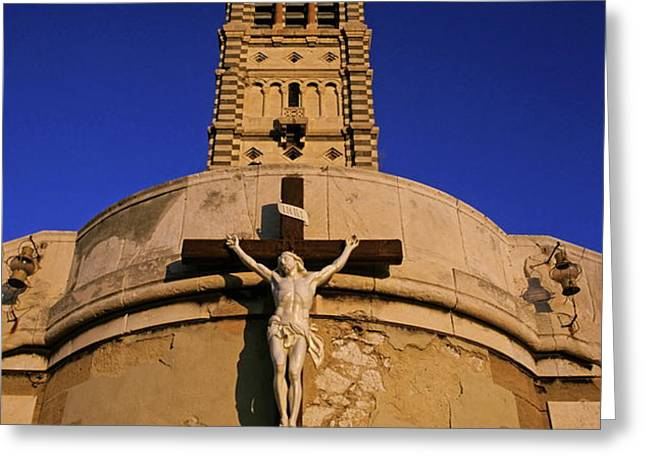 Christ on the cross outside the Nortre Dame De La Garde Greeting Card by Sami Sarkis