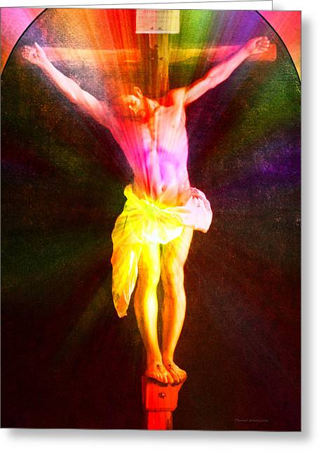 Christ On The Cross Pa Prismatic Burst Vertical Greeting Card by Thomas Woolworth