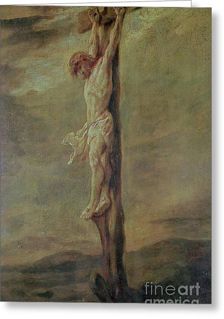 Croix Greeting Cards - Christ on the Cross Greeting Card by Rembrandt