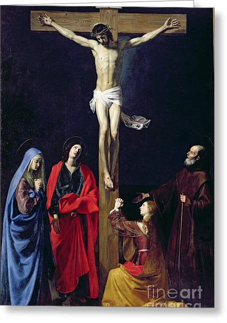 Magdalene Greeting Cards - Christ on the Cross with the Virgin Mary Magdalene St John and St Francis of Paola Greeting Card by Nicolas Tournier