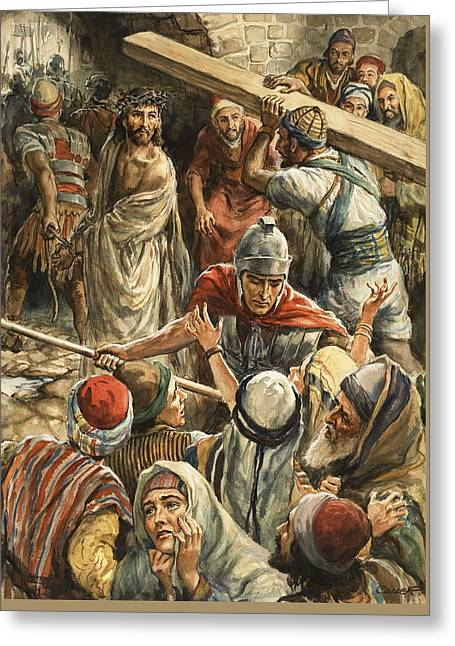 Christ On The Way To His Crucifixion Greeting Card by Henry Coller