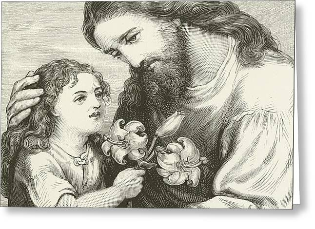 Sit-ins Greeting Cards - Christ receiving a child Greeting Card by English School