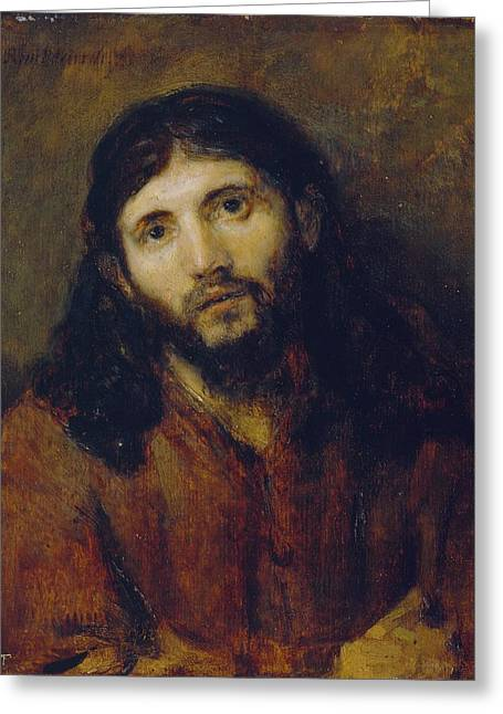 Oil Portrait Photographs Greeting Cards - Christ Greeting Card by Rembrandt Harmensz van Rijn