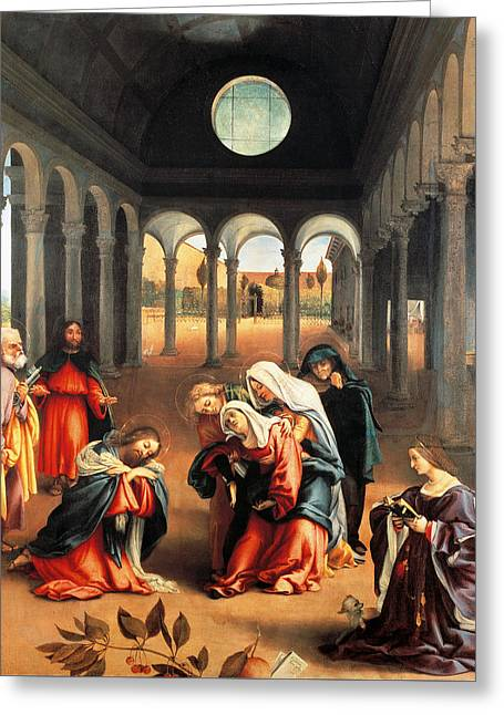 Christ Taking Leave Of His Mother Greeting Card by Lorenzo Lotto