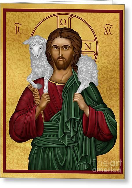 Jesus Christ Icon Digital Greeting Cards - Christ the Good Shepherd Greeting Card by Lawrence Klimecki