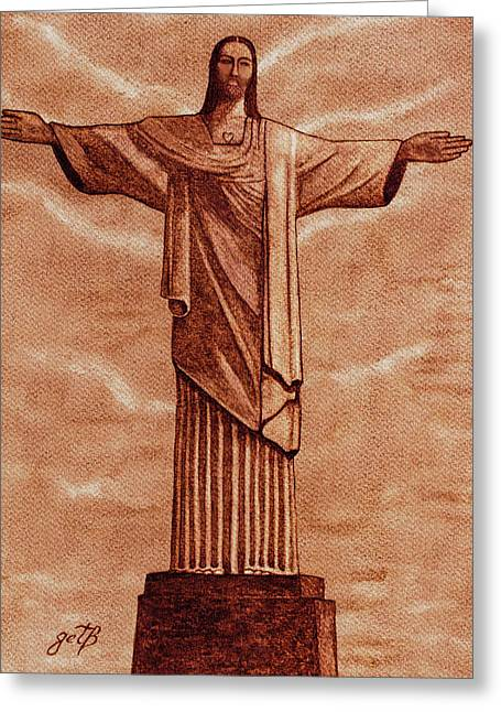 Christ The Redeemer Statue Original Coffee Painting Greeting Card by Georgeta Blanaru