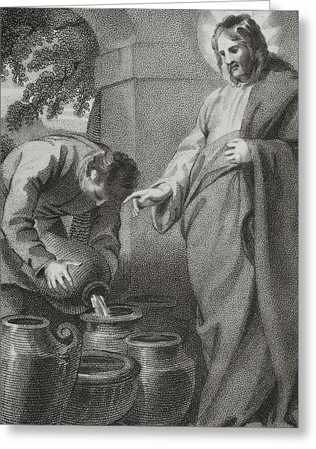 Miraculous Drawings Greeting Cards - Christ Turning Water Into Wine, From Greeting Card by Ken Welsh