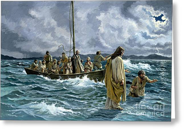 Boat On Water Greeting Cards - Christ walking on the Sea of Galilee Greeting Card by Anonymous