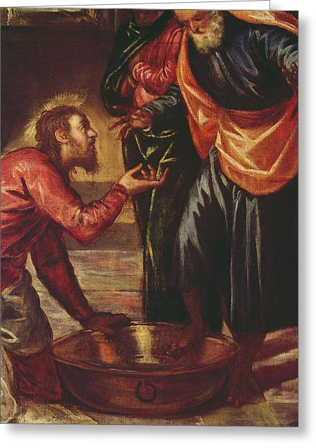 Christ Washing The Feet Of The Disciples Greeting Card by Tintoretto