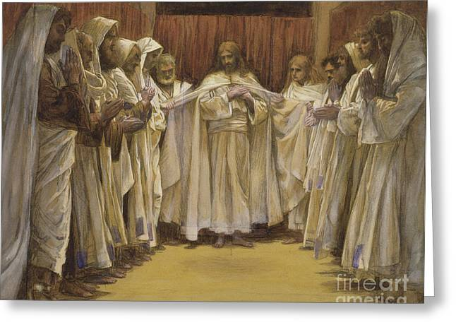 Bible Greeting Cards - Christ with the twelve Apostles Greeting Card by Tissot