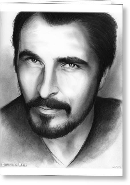 Christian Bale Greeting Card by Greg Joens