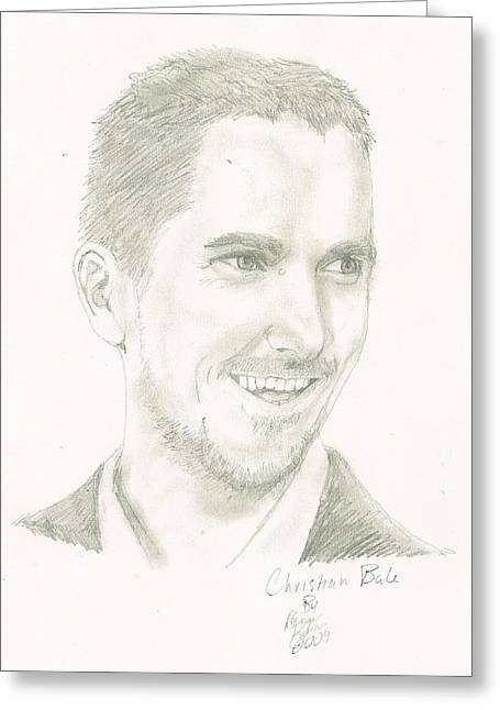 Bale Drawings Greeting Cards - Christian Bale Greeting Card by Renee Kilburn