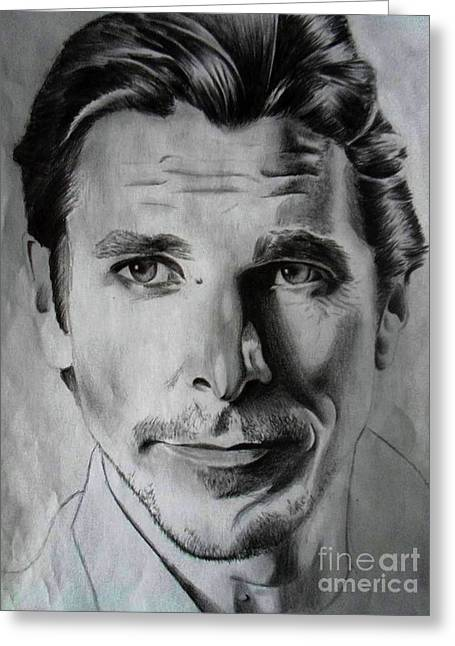 Bale Drawings Greeting Cards - Christian Bale Greeting Card by William McKay