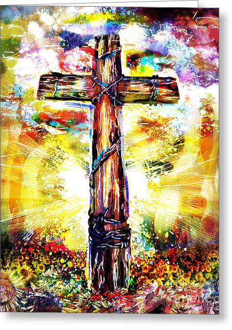Jesus Artwork Greeting Cards - Christian Cross Art Greeting Card by Ryan RockChromatic
