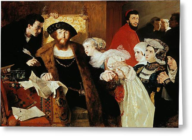 Christian II Signing The Death Warrant Of Torben Oxe Greeting Card by Eilif Peterssen