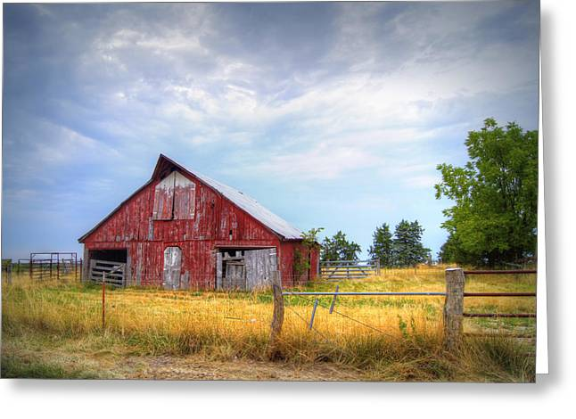 Red Barn Greeting Cards - Christian School Road Barn Greeting Card by Cricket Hackmann