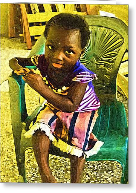 African Child Greeting Cards - Christiana Greeting Card by Deborah MacQuarrie