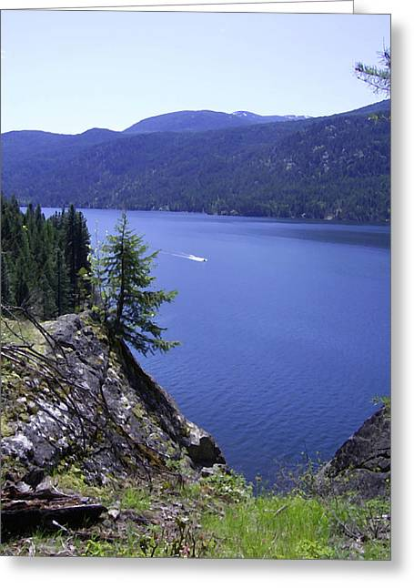 Boundary Waters Digital Art Greeting Cards - Christina Lake Texas Point Boating Grand Forks BC Greeting Card by Barbara St Jean