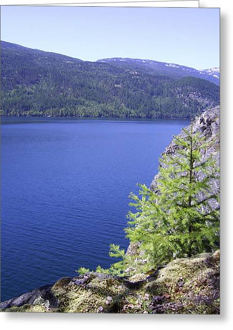 Boundary Waters Digital Art Greeting Cards - Christina Lake Texas Point Lookout Grand Forks BC  Greeting Card by Barbara St Jean
