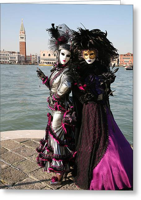 Carnivale Greeting Cards - Christine and Gunilla Across St. Marks  Greeting Card by Donna Corless