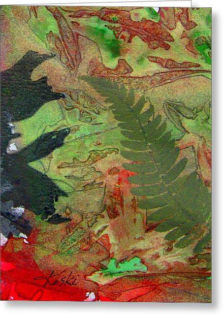 Hand Pulled Print Greeting Cards - Christmas Abstract 2 Greeting Card by Beverly  Koski