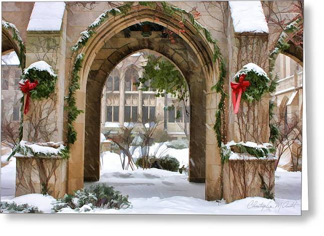 Winter Photos Paintings Greeting Cards - Christmas Arch Greeting Card by Christopher Arndt