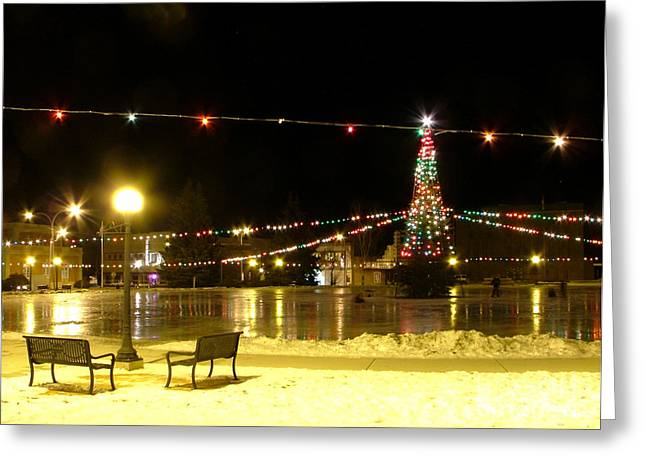 Night Lamp Greeting Cards - Christmas at the Anaconda Commons Greeting Card by Katie LaSalle-Lowery