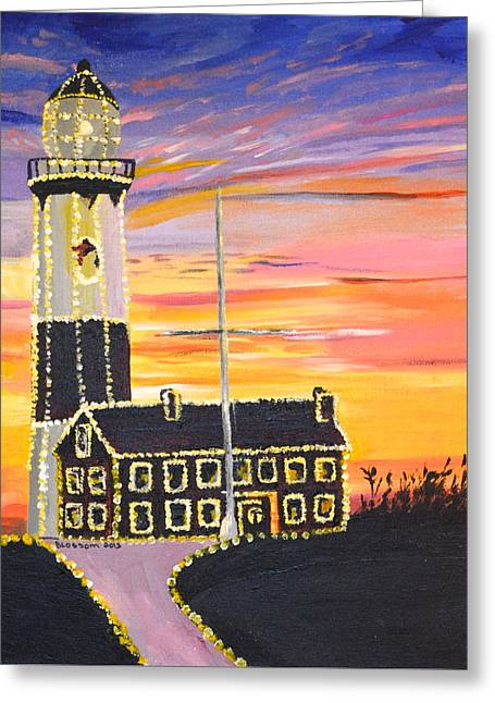 Christmas At The Lighthouse Greeting Card by Donna Blossom