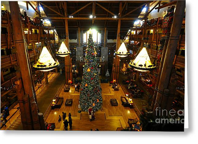 Lake Buena Vista Greeting Cards - Christmas at the Lodge Greeting Card by David Lee Thompson